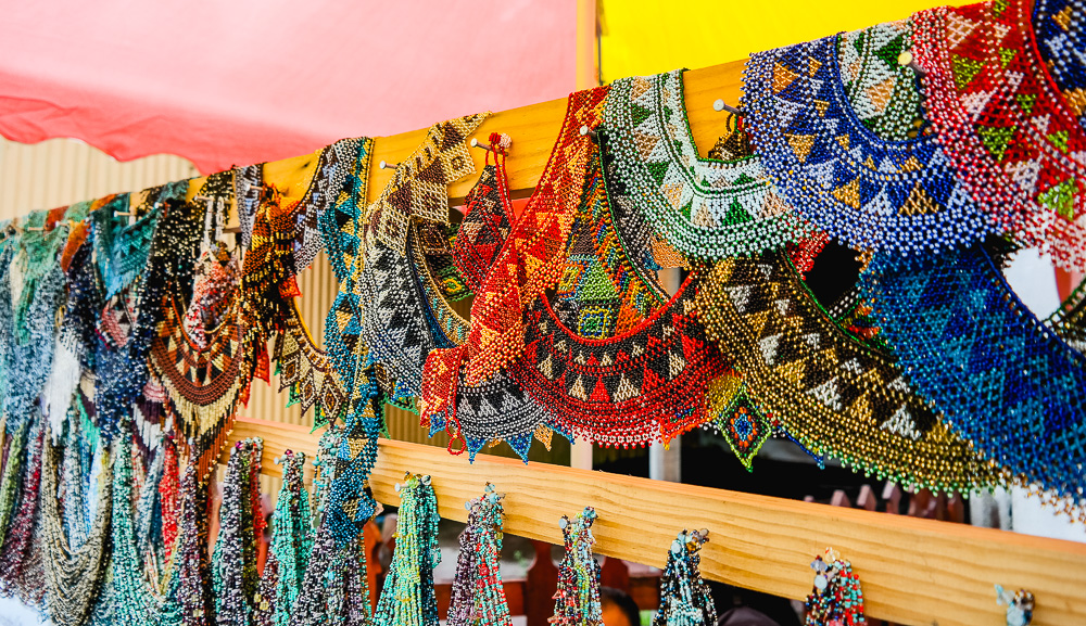 colourful hand-made goods for sale all along the main street