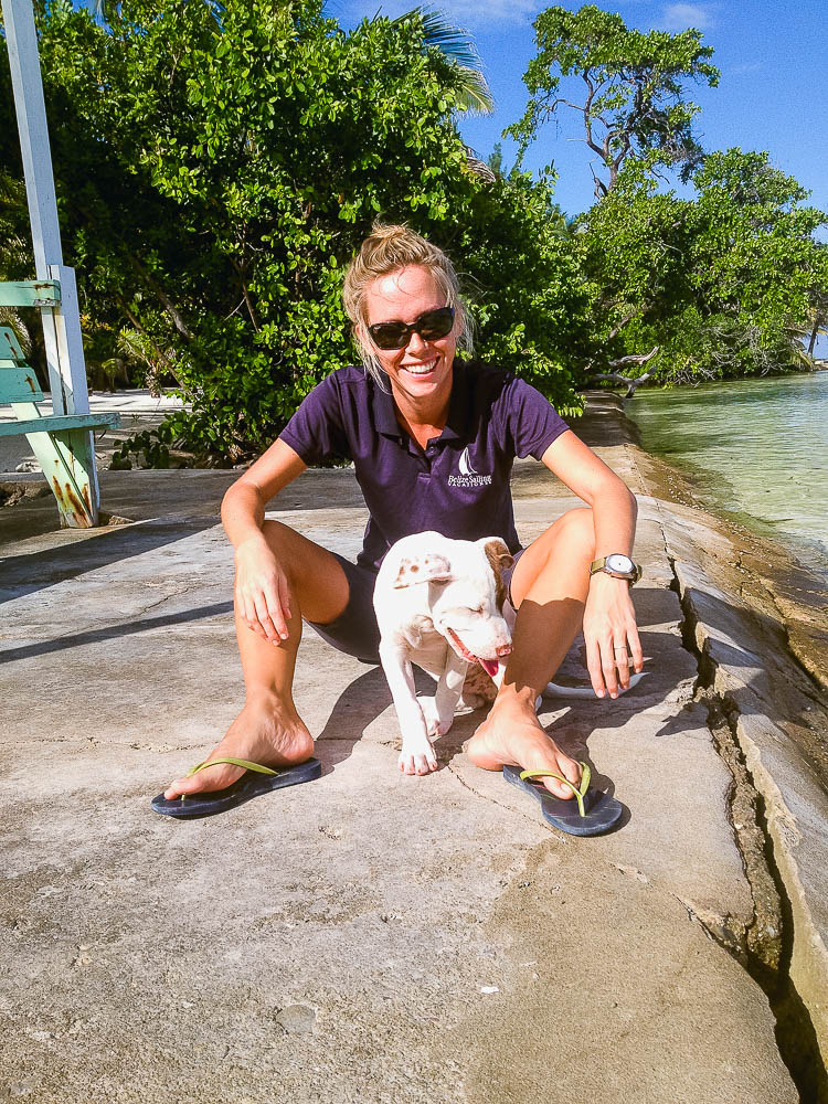 making furry friends on South Water Caye