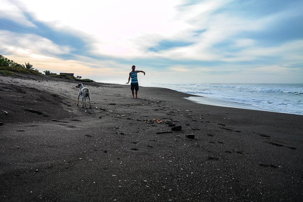 morning moves with the local stray pup and his bright orange crab companion (can you see him?)