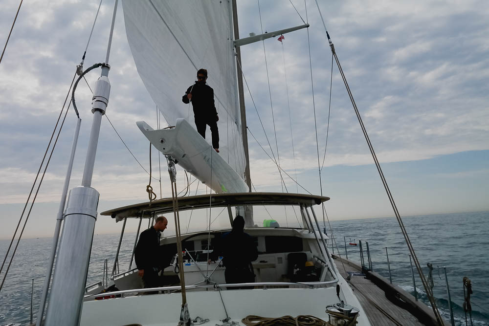 Rufus helping the Doyle team to fit and test the new sails