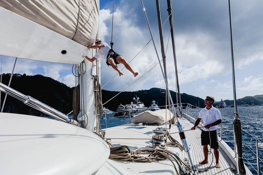 Jan 2016: the boys doing chores on charter, while boss explored St Barths