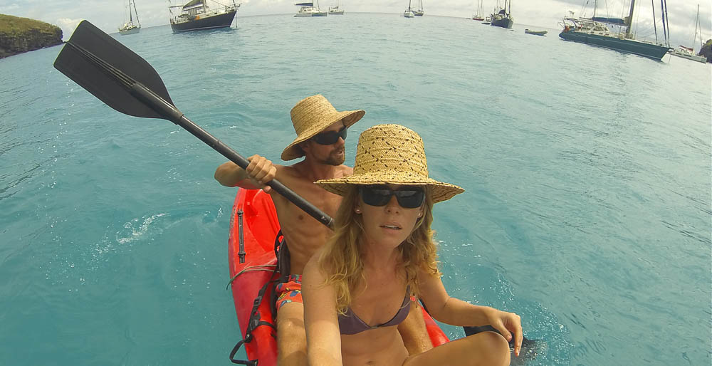 kayaking on our last sailing weekend with Melody